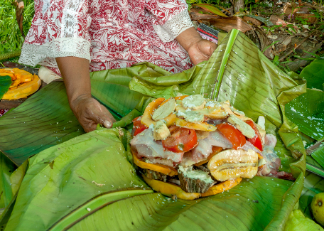 Eat Bougnat in the East Coast tribe in New Caledonia