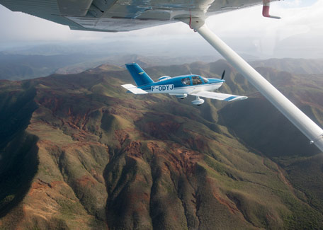 Flight over the mountain in New Caledonia