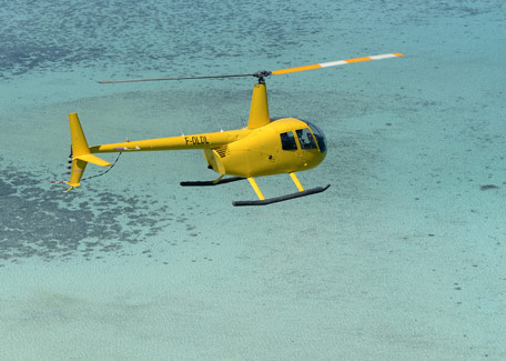 Helicopter flight over the lagoon in New Caledonia