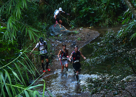Hiking trail with rivers and creeks in New Caledonia