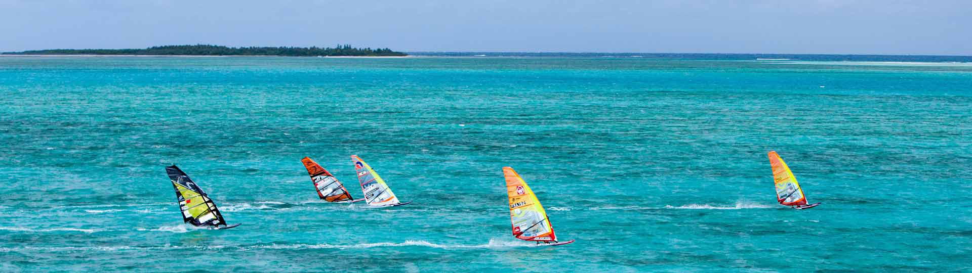 Windsurfing on the lagoon in New Caledonia