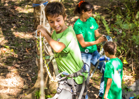 Jumaring up trees in La Foa , an outdoor activity
