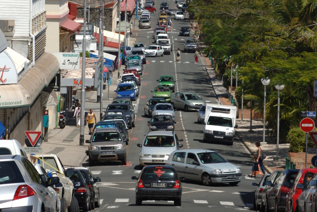 City center of Nouméa by car
