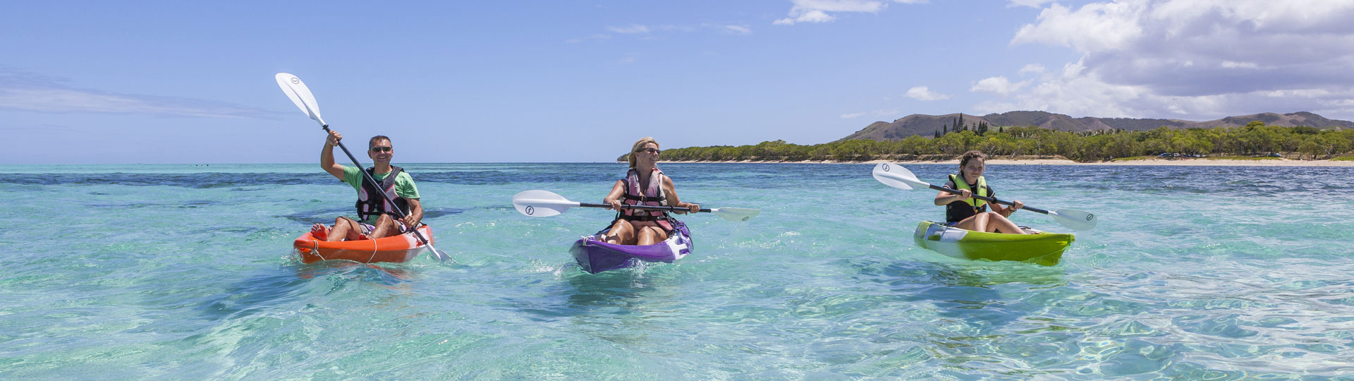 Kayak on the lagoon in New Caledonia