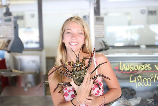 Rock lobster in the market in Nouméa