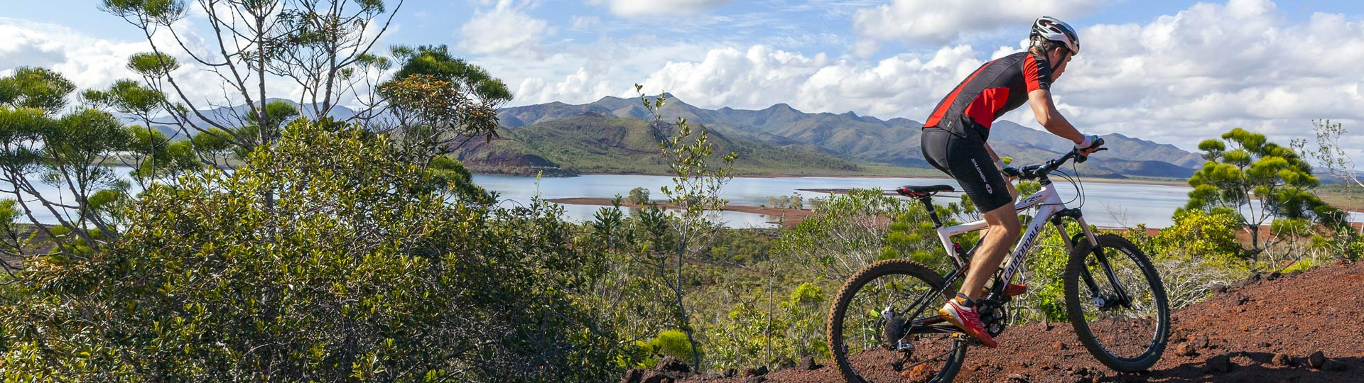 Mountain bike track in the Grand Sud in New Caledonia
