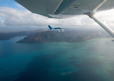 Flying over the lagoon in New Caledonia