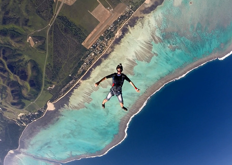 Parachuting over the lagoon in New Caledonia