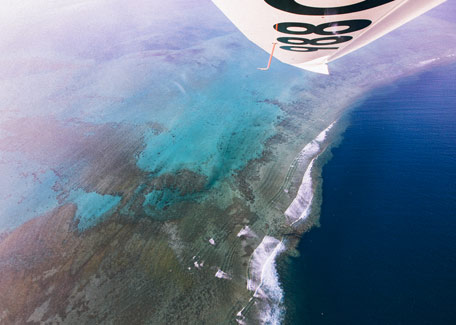 Flight over the lagoon in New Caledonia