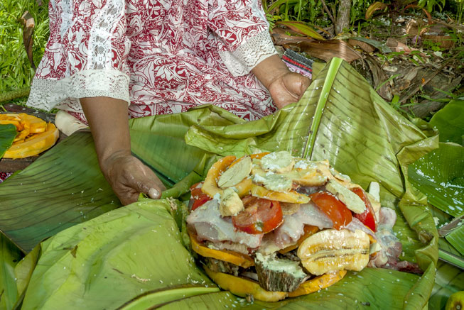 Traditional meal in the tribe in New Caledonia
