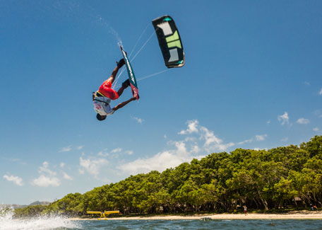Kitesurfing on Poé Beach in Bourail, New Caledonia