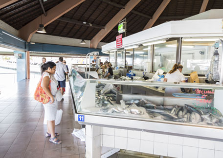 Fish shop of Port Moselle Market in Noumea