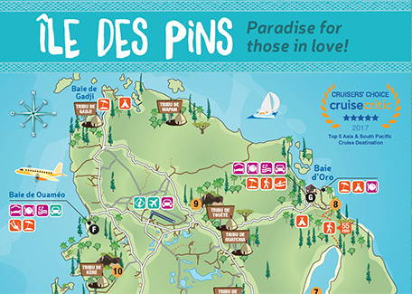 Isle Of Pines Map New Caledonia Tourism   Isle of Pines cruise destination Isle Of Pines Map