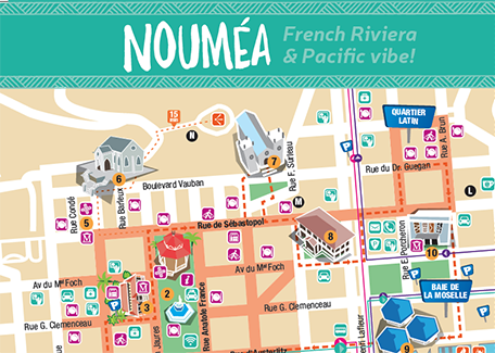 Cruise stopover map in Noumea