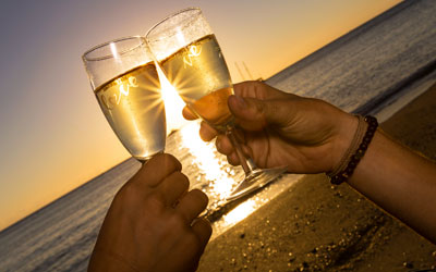 champagne, romance, sunset, beach, new caledonia